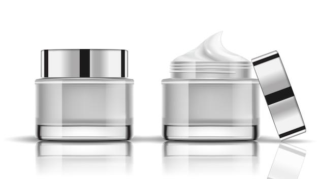 白い化粧品のボトルの梱包を模擬する