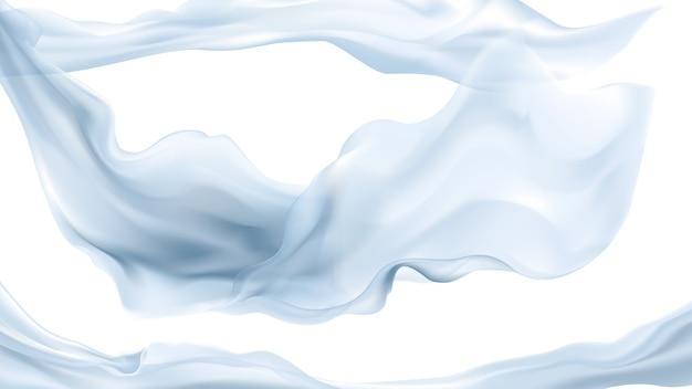 透明な背景に浮かぶ柔らかい青い半透明の生地
