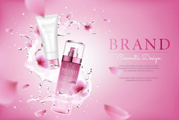 水のしぶきとポスターのピンクの花化粧品