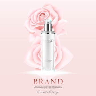 Косметическая реклама с лепестками роз на розовом фоне.