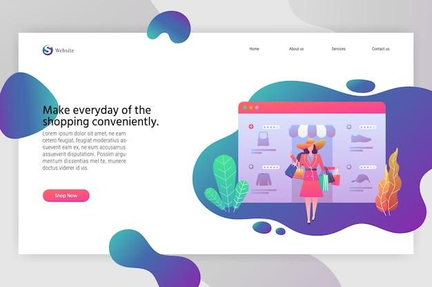 ウェブデザインのためのオンラインショッピングのための現代フラットデザインのビジネスコンセプト。