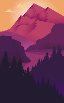 ベクトル図:フラットな風景の背景