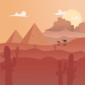 Векторные иллюстрации: плоский пейзаж пустыне фон