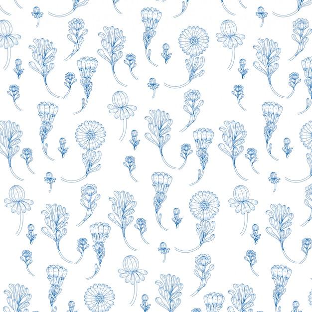 美しい青い花のシームレスパターン