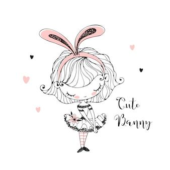Милая маленькая девочка в ушах зайчика