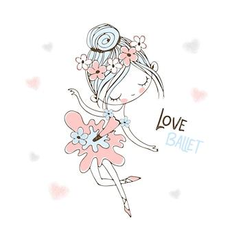 Милая маленькая балерина в пачке танцует.