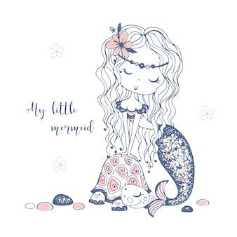 Милая маленькая русалка с черепахой.