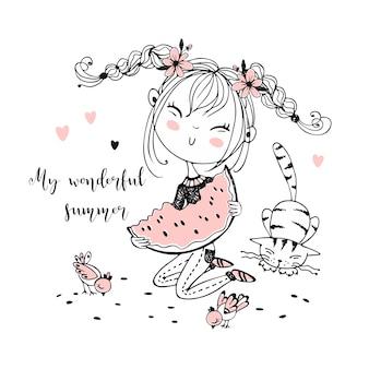 Милая девушка ест сочный арбуз, следующий кот и птиц.