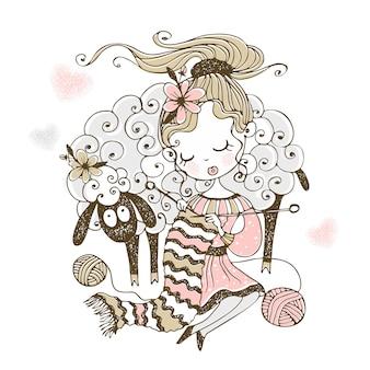 Милая девушка с ягненком вяжет на спицах шарф.