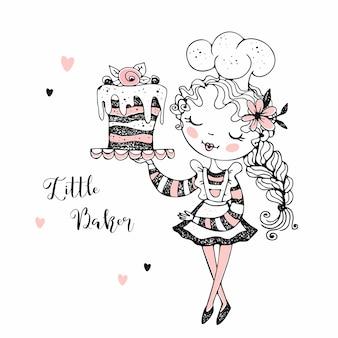 Милая девушка кондитер выпечки торта.