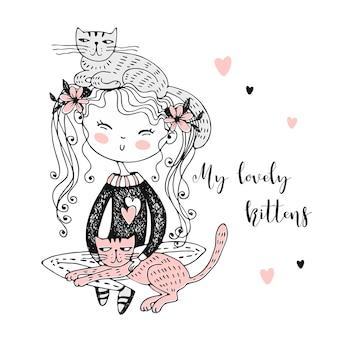 Милая девушка, сидя со своими питомцами котят.