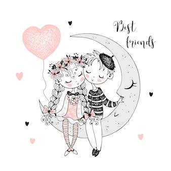 かわいい男の子と女の子が月面に座っています。親友
