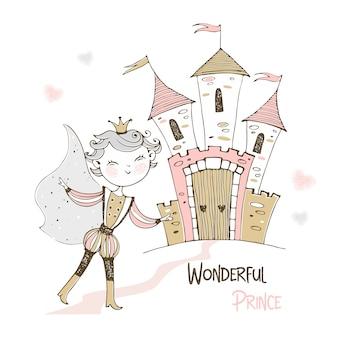 かわいい王子とおとぎ話の城。