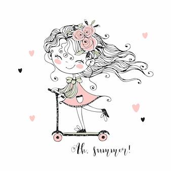 かわいい女の子がスクーターに乗ります。