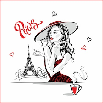 コーヒーを飲む帽子の女の子