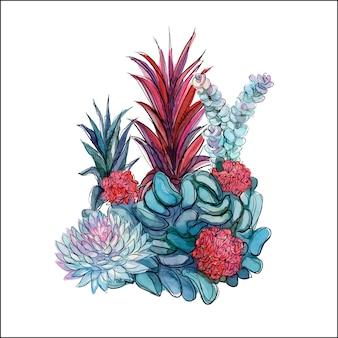 多肉植物の花束