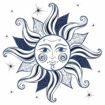 太陽。ビンテージ・スタイル。占星術。ボホスタイル。