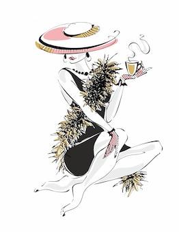 Фешен девушка с чашкой кофе.
