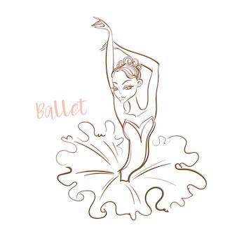 少女バレリーナ。バレエロゴタイプベクター。
