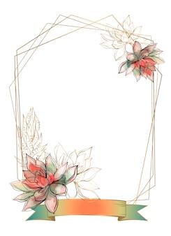 Золотая рамка с цветами суккулентов. акварель. графика