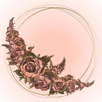 水彩画の花とホリデーカード