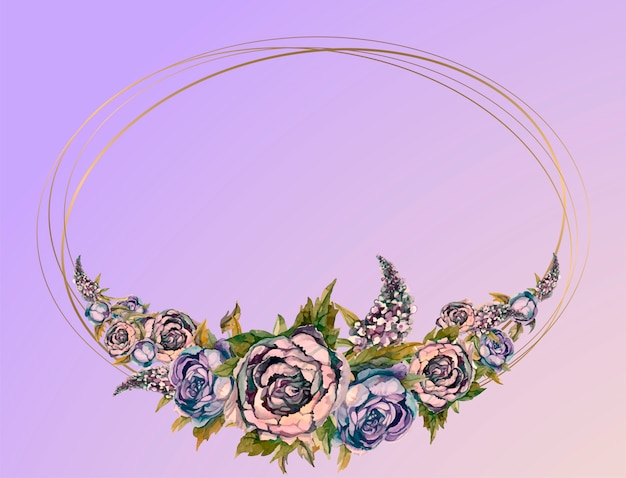バラとライラックの牡丹の水彩花輪と結婚式のフレーム。
