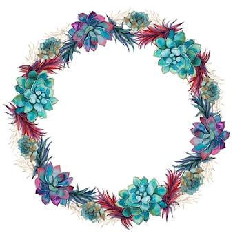 多肉植物のお祝いフレームの花の花輪