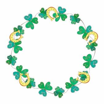 聖パトリックの日のためのフレームお祝い花輪。