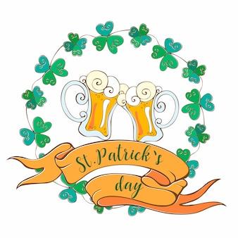 聖パトリックの日のビールジョッキ付きのポストカード。