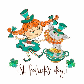 聖パトリックの日の猫はがきを持つアイルランドの女の子。