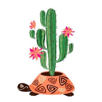 カメの形の鍋で開花サボテン
