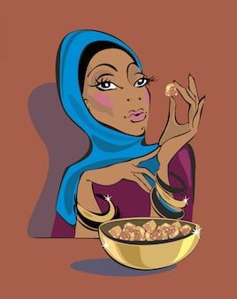 東部の女の子はトルコの喜びを食べる。