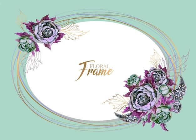 花と楕円形のフレーム
