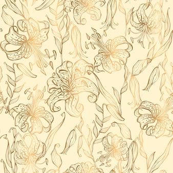 Бесшовный узор. золотые лилии на фоне ванили. вектор.