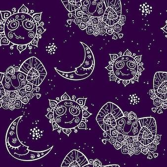シームレスパターン太陽は月と小さな子羊です。牡羊座のサイン
