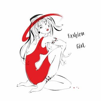 帽子のファッションの女の子