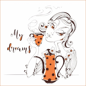 お茶を飲む女の子。少女は夢を見る。私の夢。