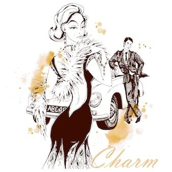 Элегантная дама и джентльмен в стиле ретро. автомобиль. очарование