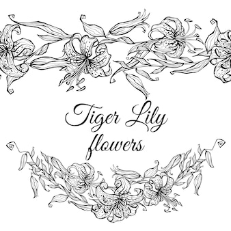 Тигровая лилия с узором бордюр и гирляндой из цветов