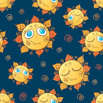 陽気な子供たちの太陽とのシームレスなパターン。