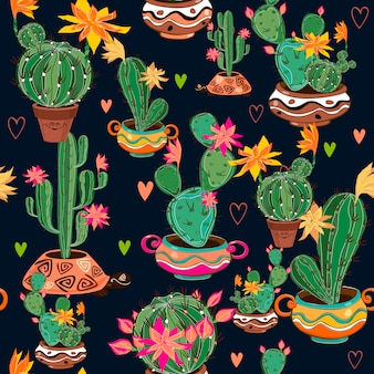 サボテンと手描きの装飾的なシームレスパターン。
