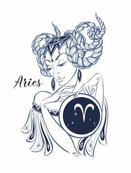 十二支のサインは美しい女の子として牡羊座。占星術。