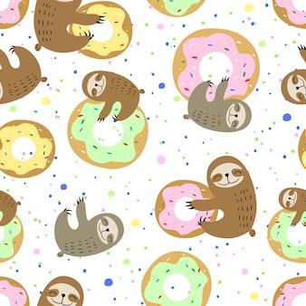 Милый ленивец со сладкими пончиками
