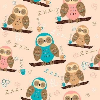 シームレスパターンフクロウは夢を見ます。かわいいスタイルです。パジャマ生地。