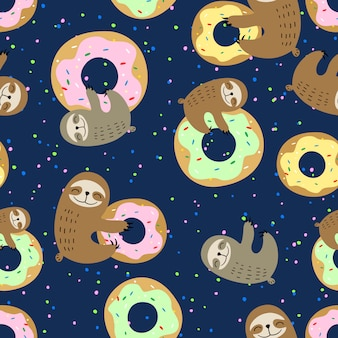 甘いドーナツとかわいいナマケモノ