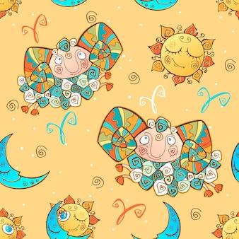 子供のための楽しいシームレスパターン。星座牡羊座。