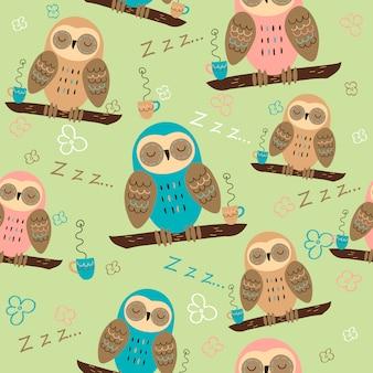 枝に眠っているフクロウ。パジャマのためのシームレスなパターン。