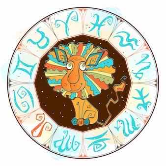 Знак лев в круге зодиака.