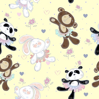 かわいい小動物とのシームレスなパターン。クマとパンダのうさぎ。バレリーナ