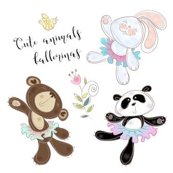 Набор игрушечных персонажей. медведь банни и панда в балетных пачках.